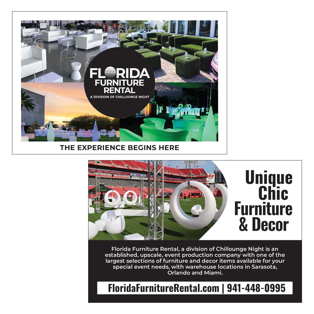 Florida Furniture Rental Postcard Design